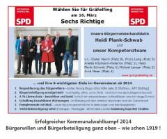 Gemeinderatswahl 2014 : Die ersten 6 Kandidaten/innen auf der SPD-Liste